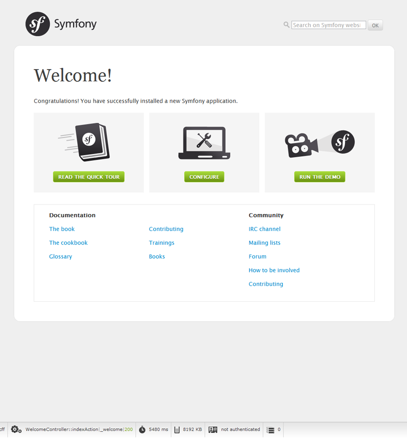 First Symfony project on Windows 7