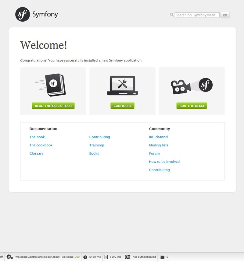 First Symfony project on Windows 7