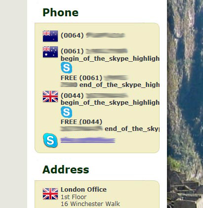 Silverstripe Templating stripping Skype Javascript